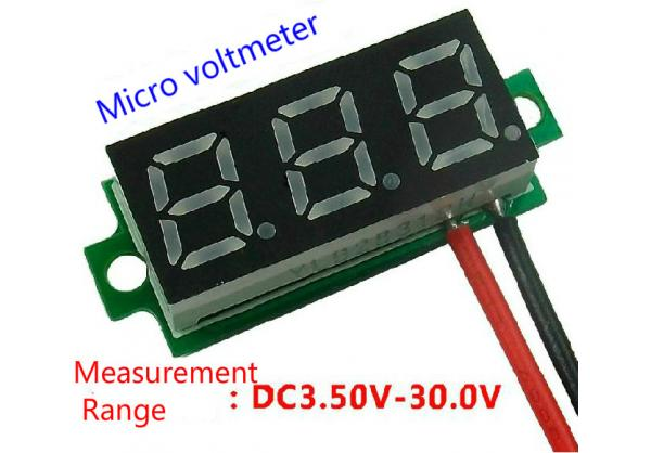 Red 0.28 inch 3.50-30.0V digital two-line display variable number of precision / digital voltmeter